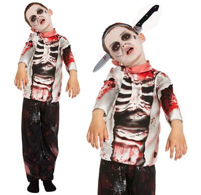 KID'S ZOMBIE COSTUME BOYS HALLOWEEN WALKING DEAD SKELETON FANCY DRESS SIZE 4-12 - Walking Dead Kid Kostüm