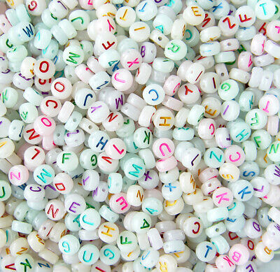 7mm Glow in Dark Assorted Alphabet Letter Disc Beads 200pc Free Shipping