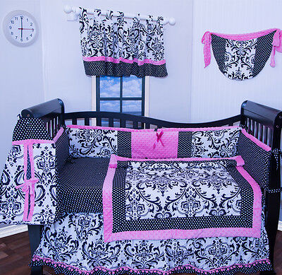 Flowers Baby Nursery (9 pieces Pink black flowers Damask baby girl crib bedding nursery set)