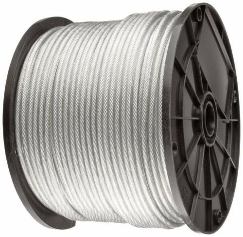 """Vinyl Coated Stainless Steel 304 Cable Wire Rope 7x19, Clear, 1/8"""" - 3/16"""""""