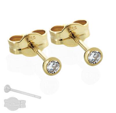 Gold 14 (585er Gelbgold 14 Karat Kelch Ohrstecker Solitär Zirkonia Ohrringe Damen Herren)