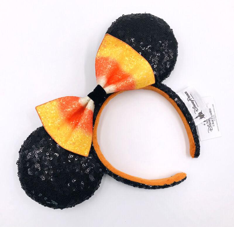 Disneyland Minnie Ears Sequins Bow Halloween Candy Corn Disney Parks Headband