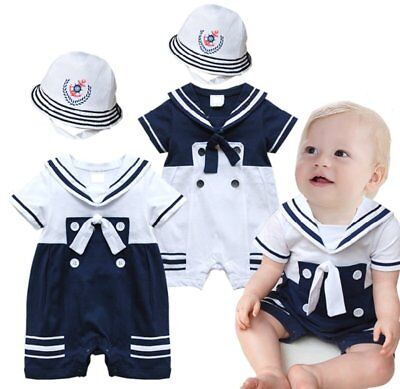 Baby Boy Girl Sailor Marine Nautical Fancy Costume Outfit Romper+HAT Clothes Set - Nautical Baby Girl Clothes