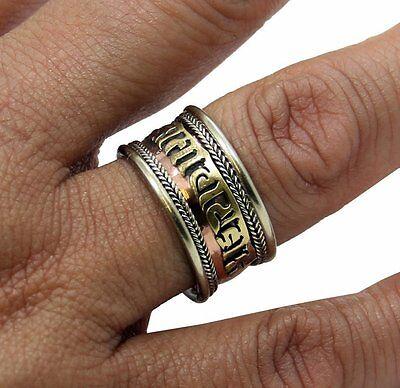 TIBETAN MEDICINE RING w/ Om Mani Padme Hum Mantra~Balance & Healing