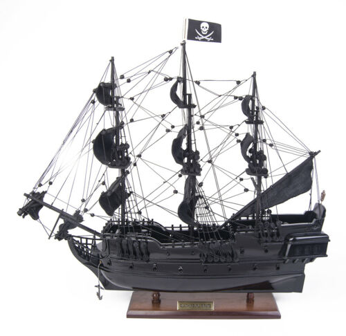 "Small Black Pearl Caribbean Pirate Tall Ship Wood Model 20"" Fully Assembled New"