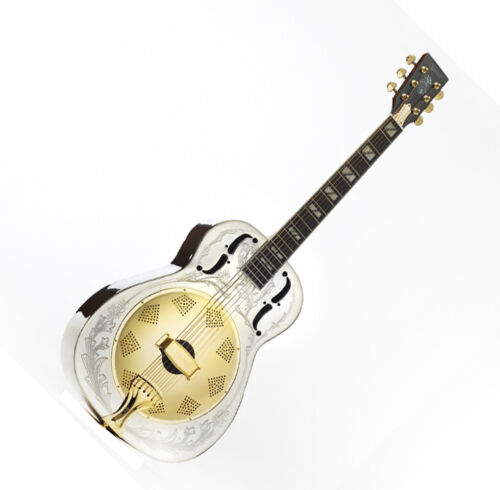Ozark Resonator Guitar Solid Brass Nickel Plated body with Decorative Engraving