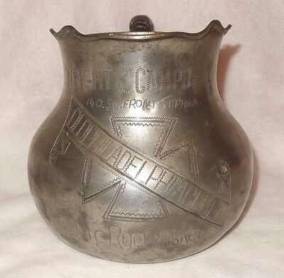 Antique Wright Campbell Pure Rye Whiskey Pewter Pitcher Old Philadelphia Club