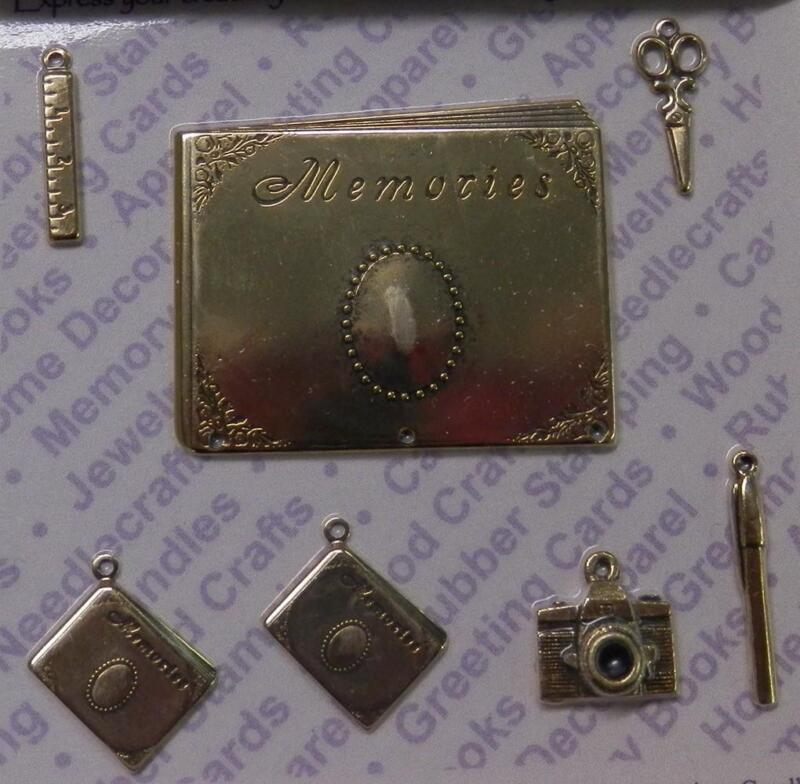 93891          Gold Plated Scrapbook Jewelry Charms-Findings / Blister Card x 2
