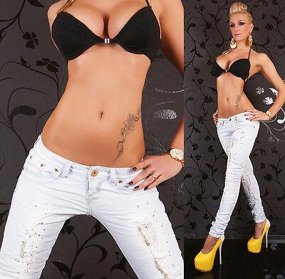 Zerstört Röhrenjeans (Damen Zerstört Röhrenjeans Hellblau Gewaschen Zerrissene Jeans Größe 8-14 Hot)