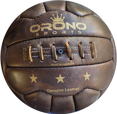 1 NEW RETRO LOOK VINTAGE STYLE GENUINE REAL LEATHER SOCCER BALL 18 Panel size 5 Leather Soccer Ball