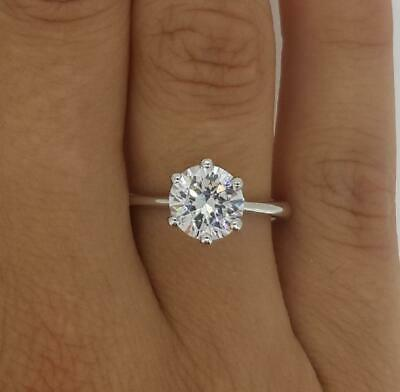 1.5 Ct Classic 6 Prong Round Cut Diamond Engagement Ring VS1 F White Gold 14k 14k White Gold Classic Prong