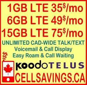 6 GB LTE DATA + Unlimited NATIONWIDE TALK + TEXT FOR 49$/Mth - Cellsavings.ca Plans by John