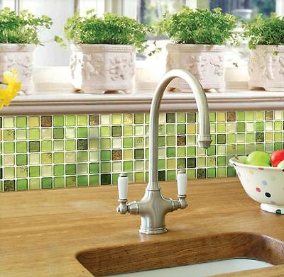 Home Bathroom Kitchen Wall Decor 3D Stickers Wallpaper Art Tile Green Backsplash