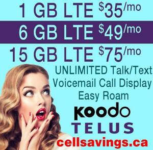 $49 for 6 GB LTE DATA + Unlimited NATIONWIDE TALK + TEXT - Cellsavings.ca Plans by John