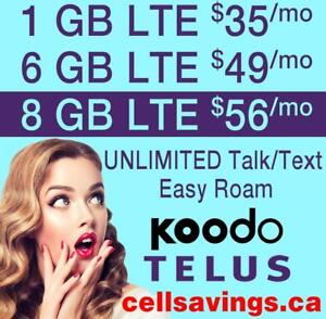 8 GB LTE DATA $56 + Unlimited NATIONWIDE TALK + TEXT - Cellsavings.ca Plans by John