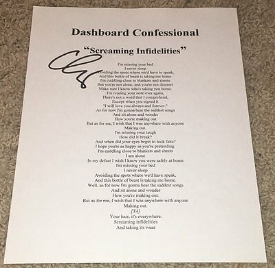 Chris Carrabba Signed Dashboard Confessional Screaming Infidelities Lyric Sheet
