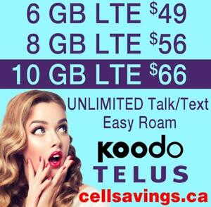 Save THOUSANDS $$$ - KOODO Unlimited NATIONWIDE TALK + TEXT + LTE DATA - Cellsavings.ca Plans by John