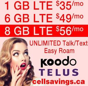 $56 for 8 GB LTE DATA + Unlimited NATIONWIDE TALK + TEXT - Cellsavings.ca Plans by John
