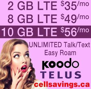 10 GB LTE DATA $56 + Unlimited NATIONWIDE TALK + TEXT - Cellsavings.ca Plans by John