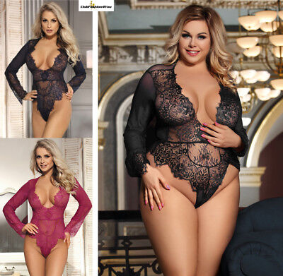 PLUS SIZE DESSOUS | Exquisite Lace Sleeve Teddy | XS-4XL R80400