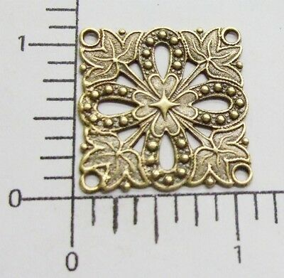 24563          Brass Oxidized Square Victorian Filigree Jewelry Finding