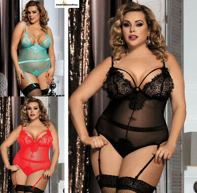 PLUS SIZE DESSOUS | Queen size Eyelash Lace Teddy Lingerie | XS-4XL R80266-HH