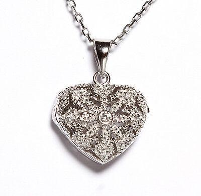 Fancy Puffed Heart - Dainty Pave Fancy Photo Puffed Heart 5A CZ Sterling Silver Necklace-Pendant