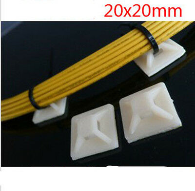 100 Pack Nylon Cable Zip Tie Mounts 20*20mm Self-Adhesive Wall Holder Mount Clip