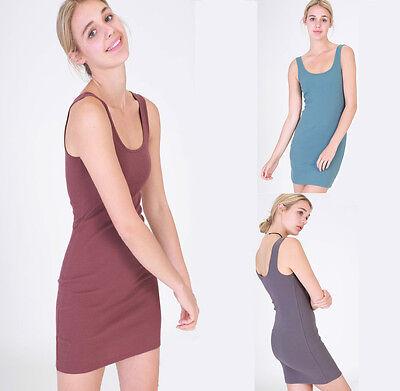 Women Basic Solid Scoop Neck Sleeveless Bodycon Cotton Rib Mini Dress Slip Tank