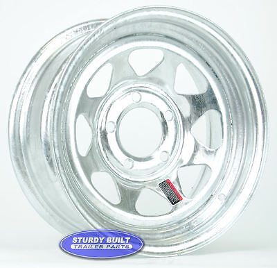 "(4)- Boat Trailer Parts WHEELS 14"" GALVANIZED 5 Bolt Rim 5 on 4 1/2"" Lug Pattern"