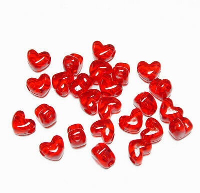Ruby Red Heart shaped Pony Beads horizontal hole made in USA crafts jewelry](Red Plastic Beads)