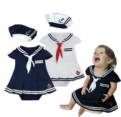 Baby Girl Sailor Marine Nautical Carnival Costume Outfit Fancy Party Dress Cloth