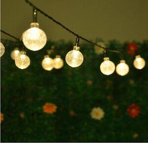30 LED Warm White Crystal Ball Globe Lights Solar Outdoor String Light Patio UK