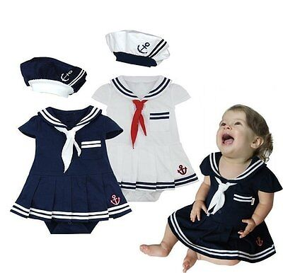 Baby Girl Sailor Nautical Carnival Fancy Party Costume Outfit Clothes Dress - Nautical Baby Girl Clothes