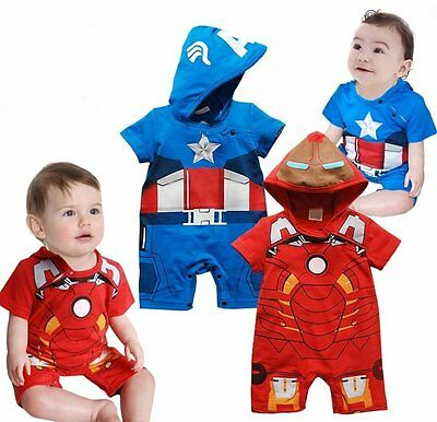 Baby Iron Man Costume (Baby Boy Captain America/IronMan Carnival Fancy Costume Outfit Clothes 00 0)