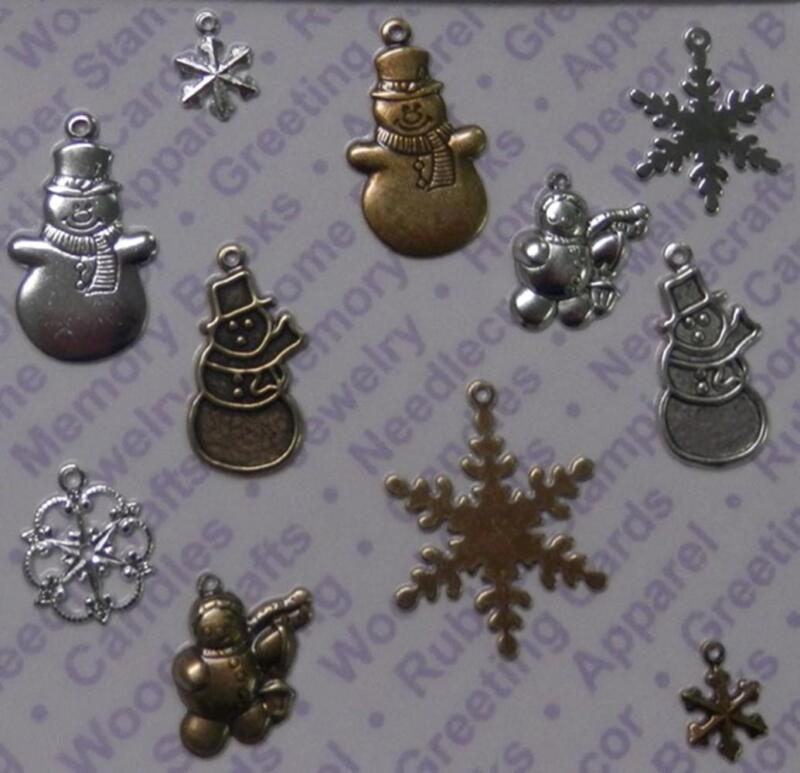 93569      Mixed Colors Asst. Snowmen/Flakes Jewelry Charms / Blister Card x 2
