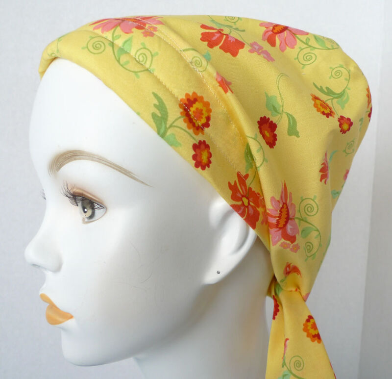 Cheerful Yellow Floral Cancer Chemo Alopecia Hair Scarf Turban Hat Headwrap