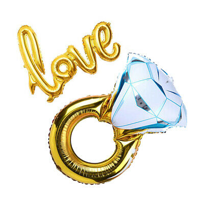 Engagement Photo Props (Engagement Diamond Gold Ring Love Balloon Party Decoration Photo Booth)