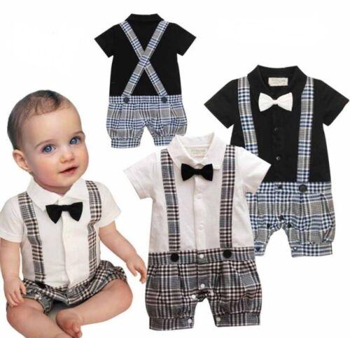 Baby Boy Wedding Christening Tuxedo Suit Bowtie Romper Outfit Clothes NEWBORN 18