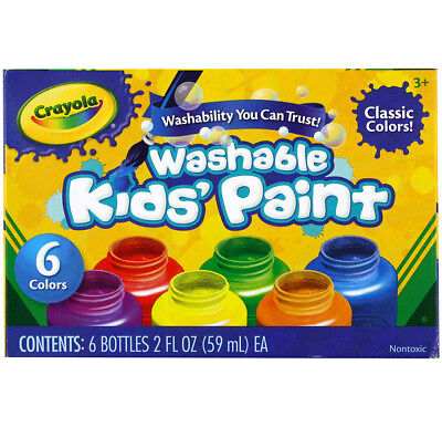 6 Pack Crayola Washable Kid's Paint, Non-Toxic, 6 Assorted Colors, 2 Ounce
