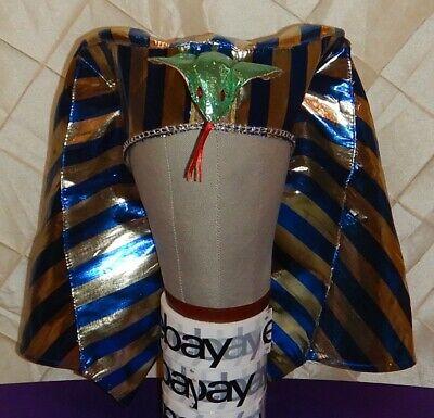 Blue &Gold Adult Egyptian Pharaoh Sphinx King Tut Crown Hat Costume Halloween