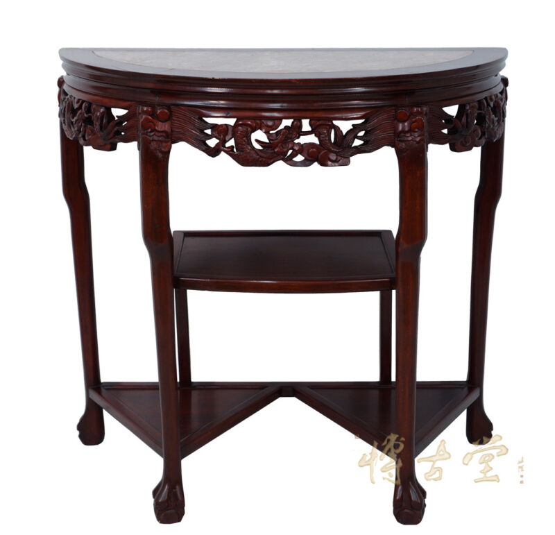 Chinese Antique Rosewood Half Moon Table with Marble Top 14LP25