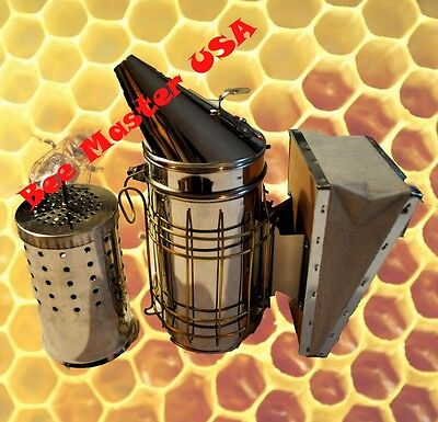 Pross Choice European Bee Hive Smoker Stainless Steel With Inner Tank. M Size.