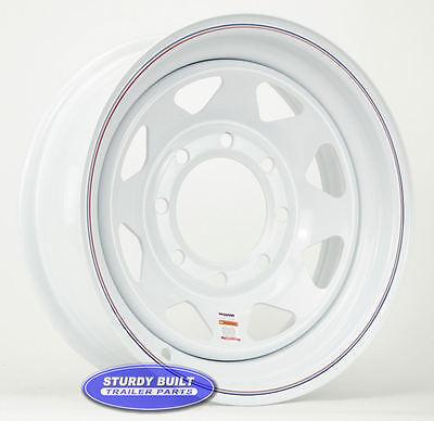 "Utility Trailer Parts 16"" White Spoke Wheel 8 Lug on 6 1/2"" Bolt Circle Rim"