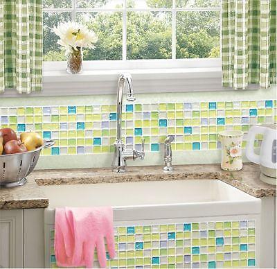 Home Bathroom Kitchen Wall Decor 3D Stickers Wallpaper Tile F Green Backsplash