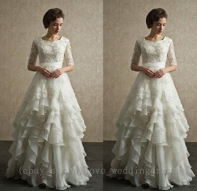 Vintage Gothic Lace Wedding Dress Bridal Ball Gowns Modest Half Sleeves Princess](Gothic Wedding)