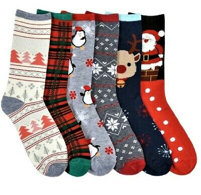 6 Pairs Christmas Crew Socks Winter Warm Xmas Stocking Stuffers Gift #2 9-11