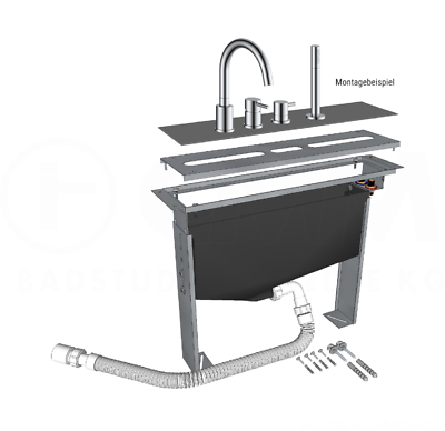 Montageblock für 2- bis 5-Loch Wannenrandarmaturen Grundkörper Badarmatur Wannen