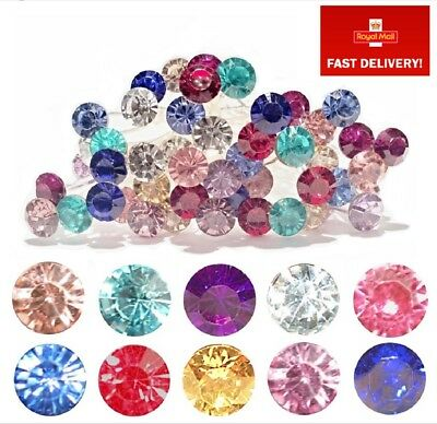 Colour Crystal Rhinestone Hair Pins Rose Gold Clear Blue Red Pink Purple Silver