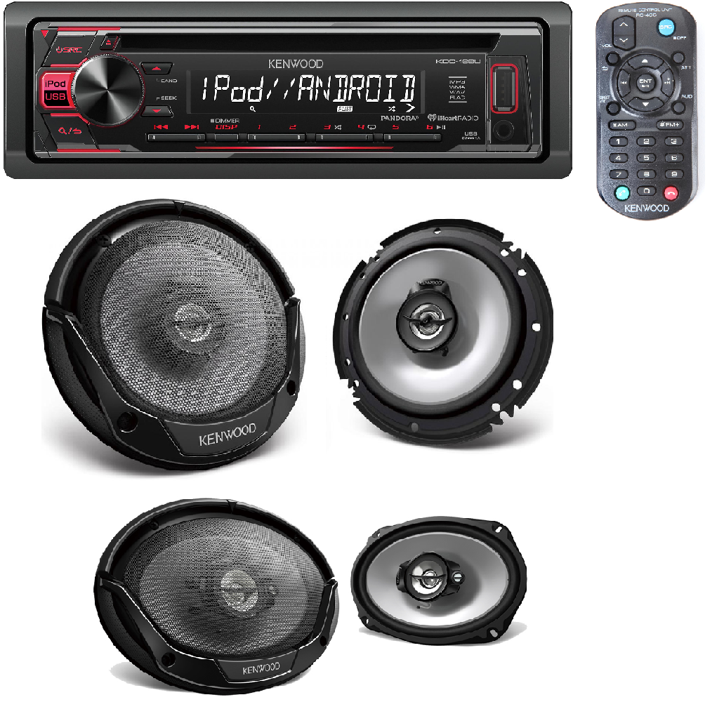 Kenwood CD Car Stereo Receiver with Front USB Input W/ 2 Pai